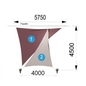Deux voiles triangulaires et deux mâts 5750 x 4500 x 4000mm