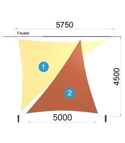 Deux voiles triangulaires et deux mâts 5750 x 4500 x 5000mm