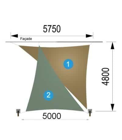 Deux voiles triangulaires et deux mâts 5750 x 4800 x 5000mm