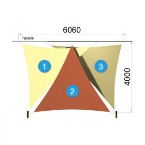 Trois voiles triangulaires et deux mâts 6060 x 4000mm