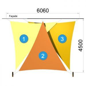 Trois voiles triangulaires et deux mâts 6060 x 4500mm
