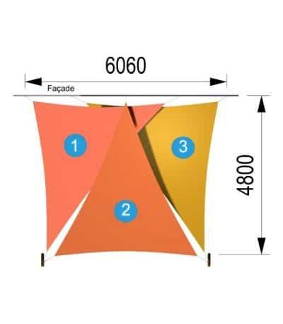 Trois voiles triangulaires et deux mâts 6060 x 4800mm
