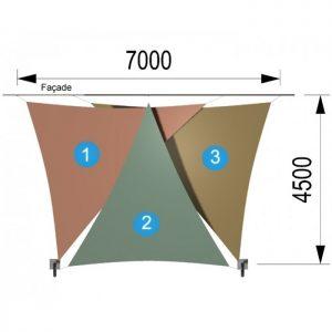 Trois voiles triangulaires et deux mâts 7000 x 4500mm