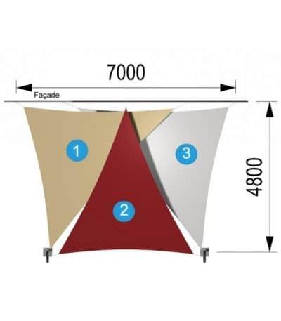 Trois voiles triangulaires et deux mâts 7000 x 4800mm