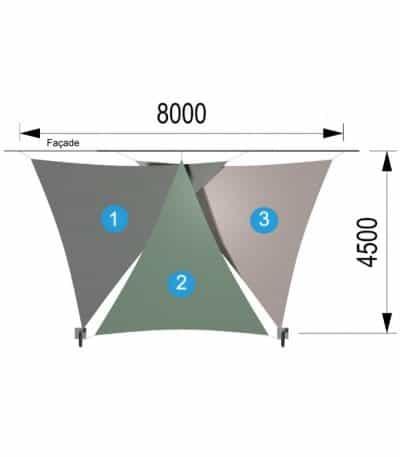 Trois voiles triangulaires et deux mâts 8000 x 4500mm