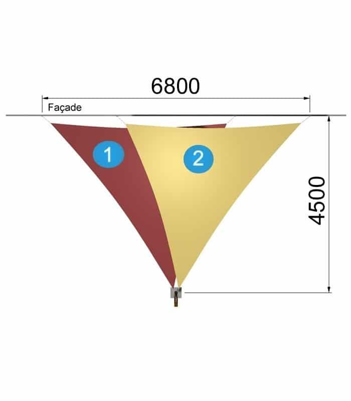deux voiles triangulaires avec un mât de 5740 par 4500