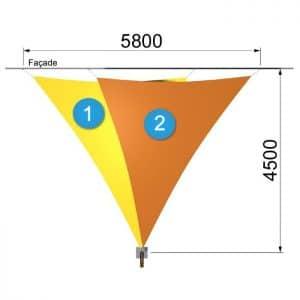 deux voiles triangulaires avec un mât de 5800 par 4500