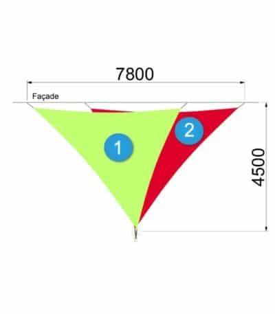 deux voiles triangulaires avec un mât 7800 par 4500