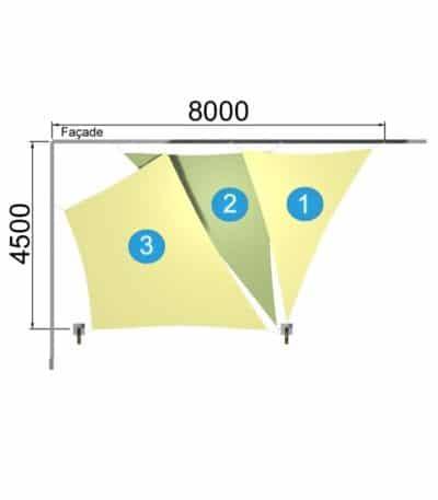 1 trapèze et 2 triangle avec 2 mâts 8000-4500