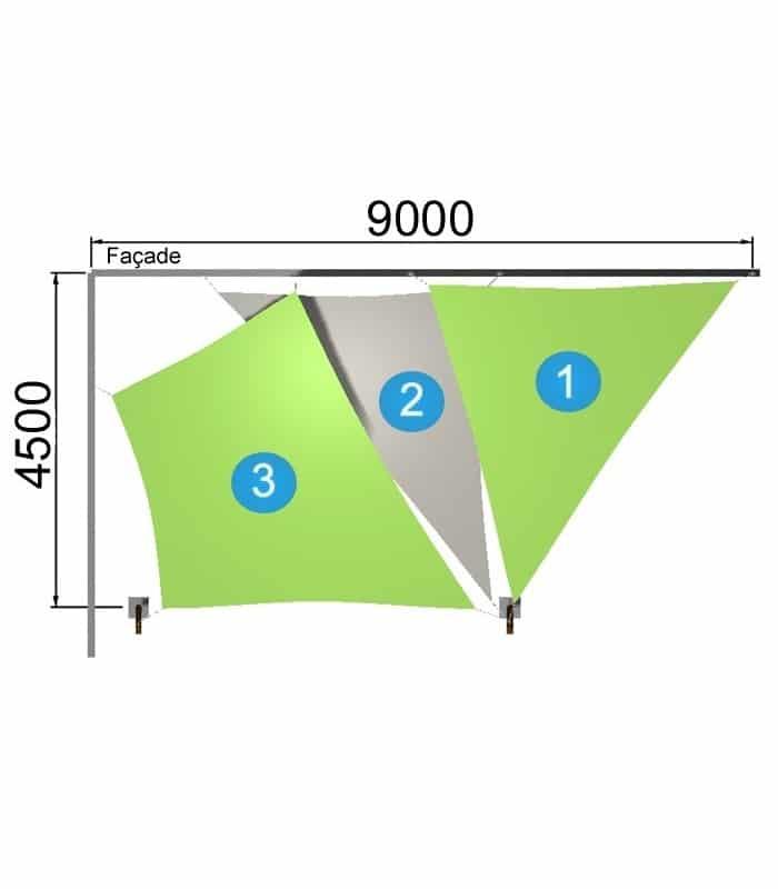 1 trapèze et 2 triangles avec 2 mâts 9000-4500