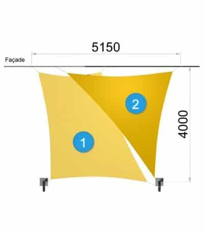 Une voile trapèze et un triangle avec deux mâts 5150-4000