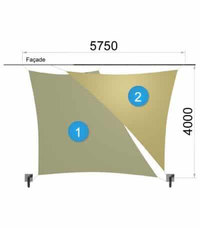 Une voile trapèze et un triangle avec deux mâts 5750-4000