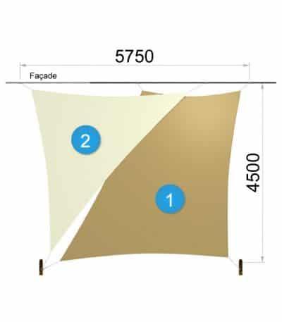Une voile trapèze et un triangle avec deux mâts 5750-4500