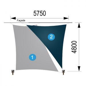 Une voile trapèze et un triangle avec deux mâts 5750-4800