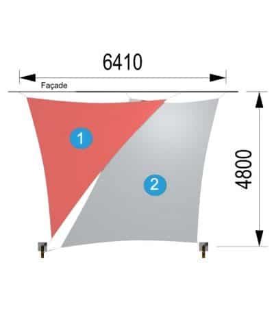 une voile trapèze et un triangle avec deux mâts 6410-4800