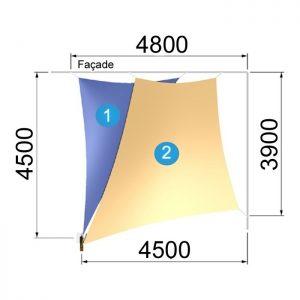 Un trapèze et un triangle avec un mât 4800-4500