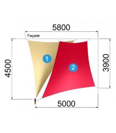 Un trapèze et un triangle avec un mât 5800-4500