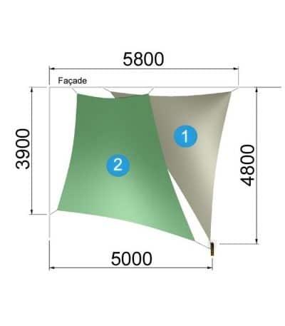 Un trapèze et un triangle avec un mât 5800-4800