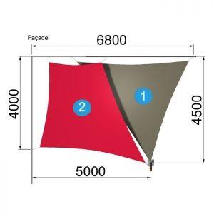 un trapèze et un triangle avec 1 mât 6800-4500