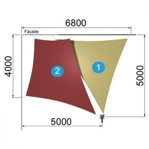 un trapèze et un triangle avec 1 mât 6800-5000